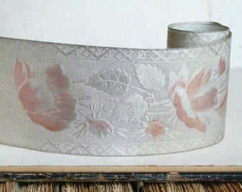 Antique metallic real silver vestment ribbon, floral motif, pink highlight, gatsby, costume design jewellery flapper millinery