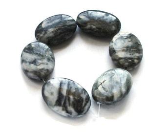 Black Line Jasper Flat Oval Beads – 6inch Strand – Semiprecious Stone – Zebra Jasper - SJBLO