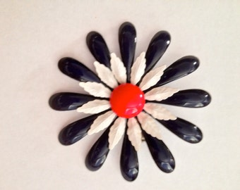 Large 1960's Enamel Flower Patriotic Pin/Red, White and Blue