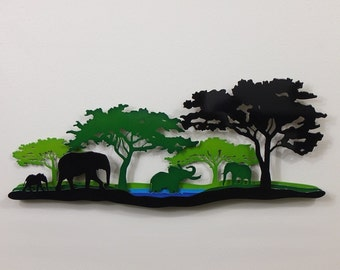 "African Elephant Scene A - Metal Wall Art - 23""Wide - Five layers - Large Front Tree Right - (AA2sr-)"