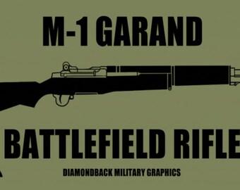"M-1 Garand rifle vinyl  decal (3"" x 6"" olive drab and black)."