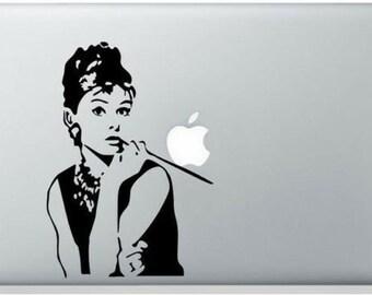 Audrey Hepburn vinyl sticker for Apple MacBook laptop