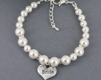 Pearl Bracelet, Swarovski Bracelet, Bridal Party Jewelry, Bride Bracelet, Available in White or Ivory, Bridal Swarovski Pearl Bracelet