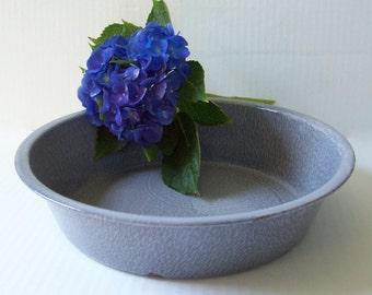 "Vintage Grey Graniteware Bowl 11"" Round Blue Gray Enamelware Metal Pan with Chippy Enamel for Rustic Farmhouse Kitchen Decor"