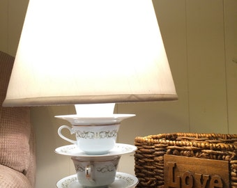 Green and White Teacup Lamp