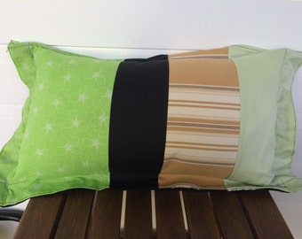 Patchwork cushion in neutral colours