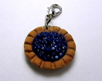 Blueberry Pie Charm /Miniature Food Jewelry