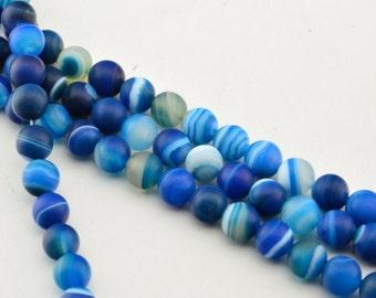 "15""8mm Blue Matte Agate  Gemstone Striped Agate Round Beads"