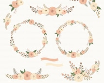 Floral Autum. Wreaths Clipart. Floral Clipart. Rustic Flowers. Wedding Clipart. 11 images, 300 dpi. Eps, Png files. Instant Download.
