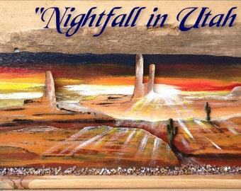 "relief on wood- acrilyc ""Nightfall in Utah"""