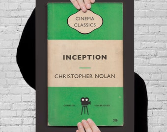 CHRISTOPHER NOLAN Movie Poster INCEPTION Movie Print Christopher Nolan Print Inception Poster retro Orange Penguin Classic Movie Print Ribba