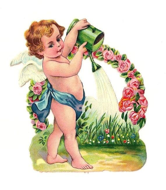 Engel mit Gießkanne und Blumen. Antike Die Ausschneiden Figur 12 cm. Deutschland. 1920 Vintage.