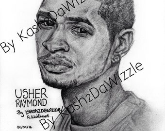 Usher #portrait in black and white #music #art #rnb #usher #drawing #singer