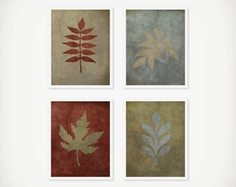 Botanical Leaf Vintage Art Print Set - Home Decor - Office Decor - Botanical Decor - Set of 4 Prints