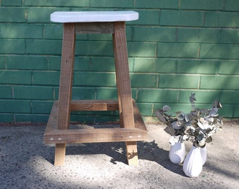 Recycled Oregon Wood/Timber Stool with White Painted Seat
