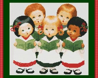 Children of the World Caroling Counted Cross Stitch Pattern in PDF for Instant Download