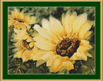 Yellow Sunflowers Cross Stitch Pattern in PDF for Instant Download