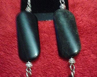 Hand Crafted Black Onyx Garnet Earrings