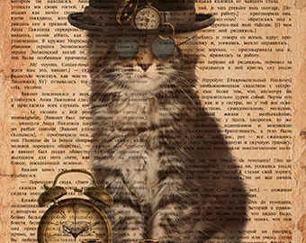 Steampunk Cat - Digital Printable Download Graphic Illustration Clip Art for Transfers Making Prints etc HQ 300dpi