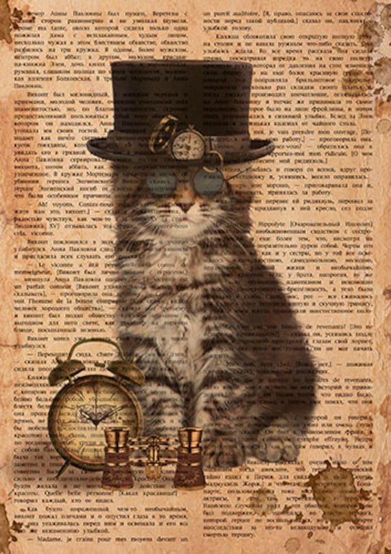 Steampunk Cat Digital Printable Download Graphic