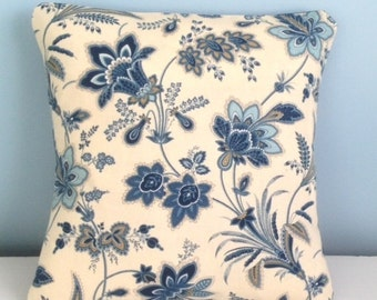 French Country pillow cover. Blue and white french country. Style of Pierre Deux 18x18 decorator throw pillow. Toss pillow. Country cottage.
