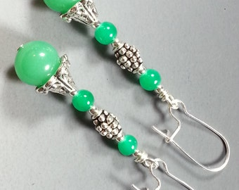 Bright Green Glass and Tibetan Silver Earrings