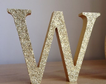 "5"" Gold Glitter Letters, Gold Wooden Letters, Freestanding/Standalone Gold Letters, Personalised Glitter Letters"
