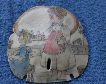 Beautiful Decoupaged Sand Dollar, Shell, Home Decoration, Ocean Sea Shell, Supplies, Vintage, Home Decoration, For Display, Collectible
