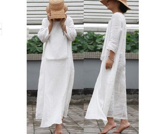 White silk  linen loose dress