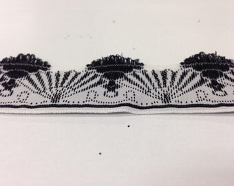 """Vintage Inch Wide Black and White Fan Ribbon with """"Feathered"""" Edge"""