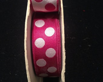 Vintage 1950s Pink and White Double-Sided Reversible 1-inch Wide Silk Jacquard Polka Dot Ribbon