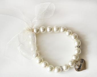 Flower girl pearl bracelet flower girl gift ivory organza ribbon rhinestone crystal heart charm jewelry wedding gift children bracelet
