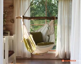 Hammock chair (green/white)