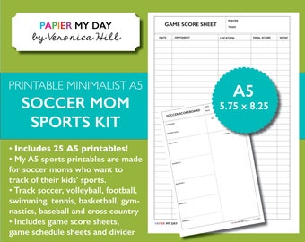 A5 Filofax Sports Pack - Track Scores - Soccer, volleyball, football, swimming, tennis, basketball, gymnastics, baseball, cross country