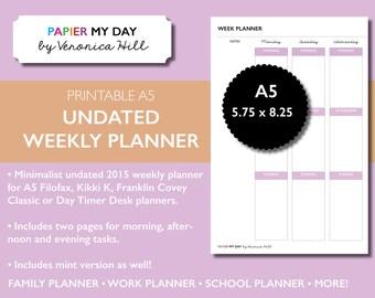 A5 Filofax Week Planner (Undated) - Minimalist Design - A5 Planner Printables - Kikki K Week Planner