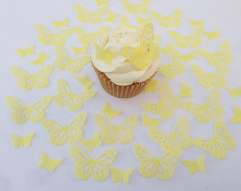 48 Edible Yellow Butterfly Wafer Cupcake Toppers Precut