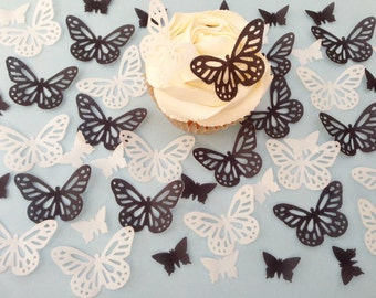 48 Edible Black and White Butterfly Wafer Cupcake Toppers Precut