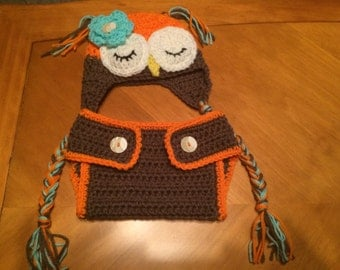 Sleeping Owl Hat and Diaper Cover