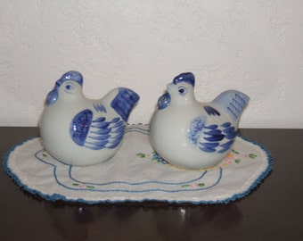 Adorable Hen and Rooster White Porcelain Salt and Pepper Shakers With Blue Hand Painted Detailing