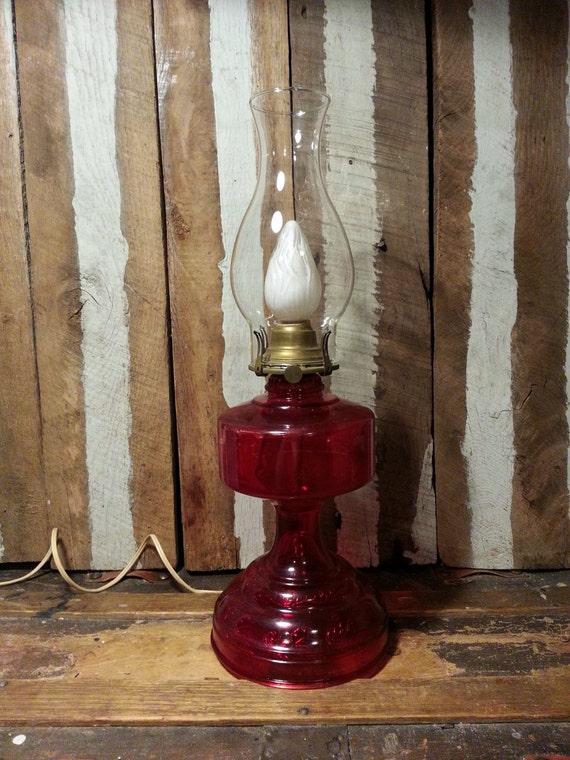 Vintage Antique Red Glass Bottom Oil Kerosene Lamp Lantern
