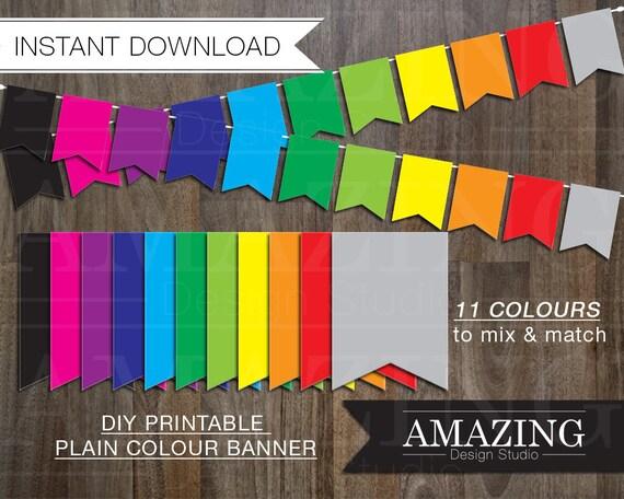 bright color banner diy printable instant download birthday. Black Bedroom Furniture Sets. Home Design Ideas