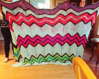 Queen-Sized Chevron Crocheted Blanket