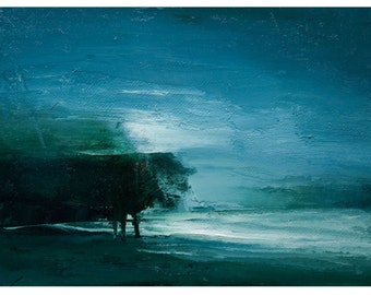 Three A.M. 6X8 Original landscape painting by Timber Trail Arts