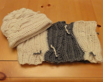 Crochet Terrace Pattern Hat & Cowl Set