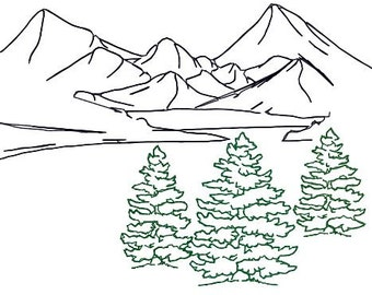 Embroidery Design Fir Tree Trio Outline, Mountain Landscape Redwork, for Tote Bag, Pillow, Room Decor