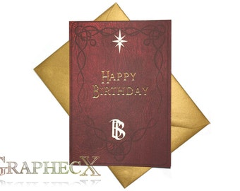 Fan-made Bilbo's Book inspired personalized birthday card
