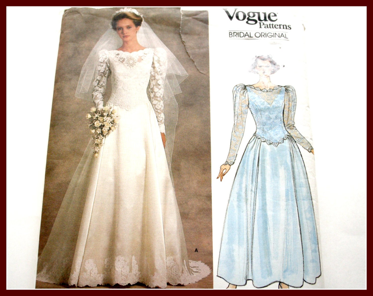 Lace overlay bridal gown sewing pattern wedding dress uncut for Wedding dress lace overlay