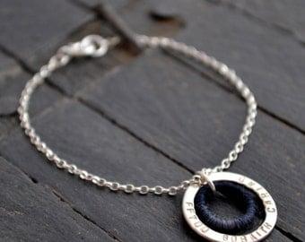 Personalised Silver & Wool Circle Bracelet