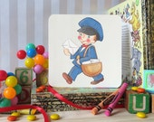 Mail Boy Vintage Style Greeting Card (free shipping)