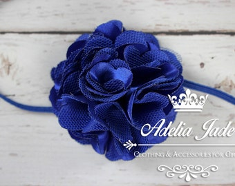 Blue Baby Headband, Newborn Photo Prop, Royal Blue Satin Lace Baby Girl Headband, Baby Headband, Flower Baby Headband, Newborn Headband